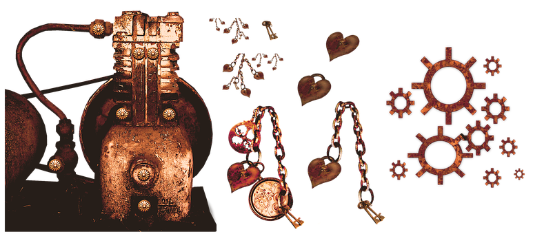 Steampunk, Engine, Heart, Gears, Jewelry, Chain, Locket