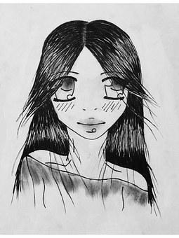 Drawing, Image, Painted, Painting, Manga, Girl, Eyes