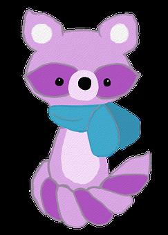 Raccoon, Purple Raccoon, Cartoon, Doodle, Drawing, Love