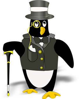 Penguin, Tux, Black, Hat, Wearing