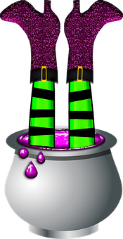 Witches Legs In Pot, Halloween Witch, Legs, Slime Queen