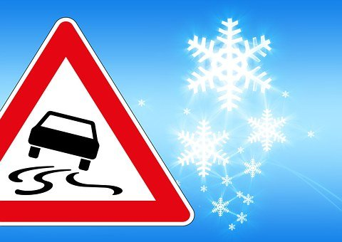Traffic Sign, Ice, Risk Of Slipping, Accident, Auto