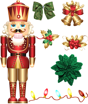 Christmas Gold And Red Deco, Nutcracker, Lights