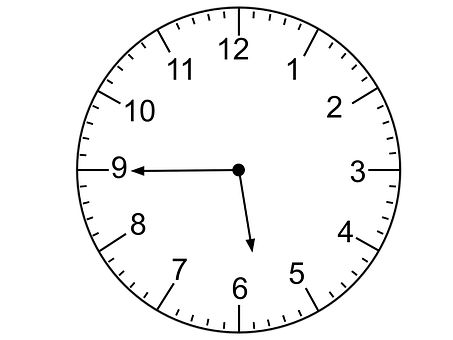 Clock Face, Quarter To Six, Telling Time