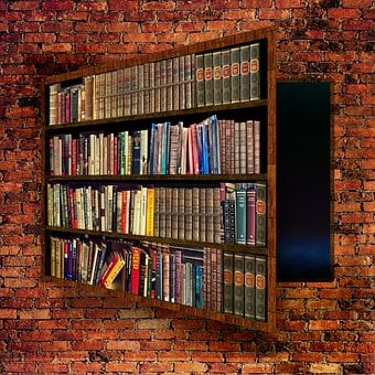 Bookcase, Secret, Passage, Room, Panic Room, Wall