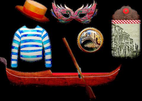 Venice Gondola, Venice, Italy, Mask, Gondolier Shirt