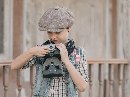 Camera, Cowboy, Boy, Photographer, Tomboy, Western