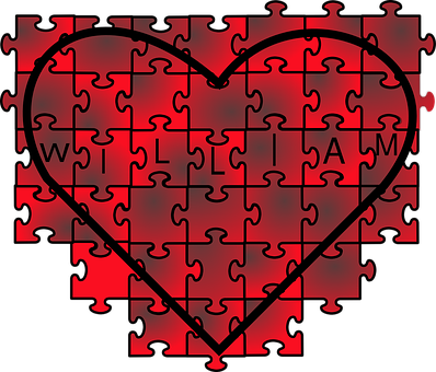 Puzzles, Pieces, Jigsaw, Red, Pink, Heart, Shape