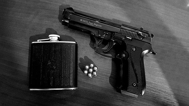 Whisky, Gun, Weapon, The Gun And Whiskey