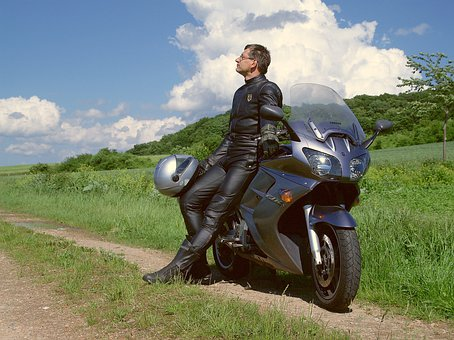 Motorcycle, Bike, Tourer, Helm, Leather, Leather Suit