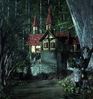 Fantasy, House, Woods, Fairytale, Light, Tree, Nature