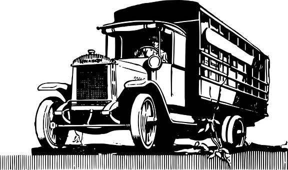 Truck, Vintage, Automobile, Clip, Art, Heavy, Big