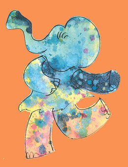 Elephant, Dance, Dancing, Colorful, Happy, Bright