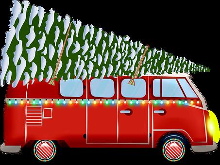 Christmas Van, Christmas Caravan, Camping Car, Camping