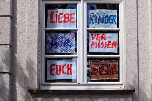 Corona, Covid-19, School, Signs, Window, Greetings