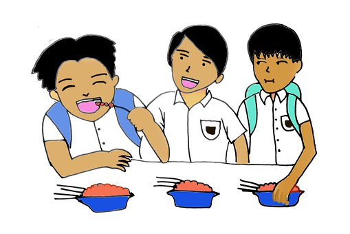 Stundents, Eating Snack, Elementary Students, Cartoon