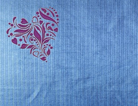 Heart, Jeans, Fabric, Embroidery, Denim, Ornament