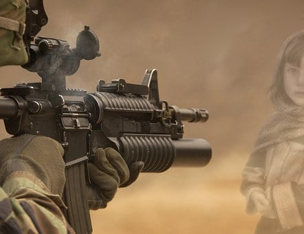 Soldier, Weapon, Girl, Victims, Military, War, Shoot