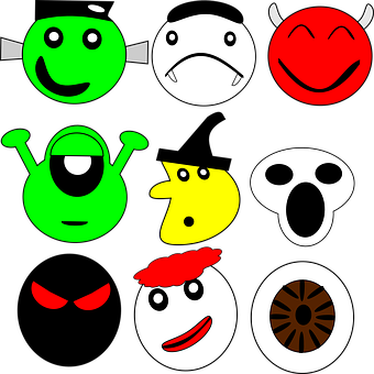 Halloween, Smiley, Set, Mask, Alien, Vampire, Witch