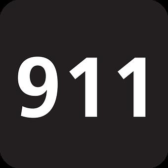Emergency, 911, Police, Telephone Number, Black, Sign