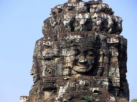Cambodia, Angkor, Religion, Temple, Bayon, Face, Smile