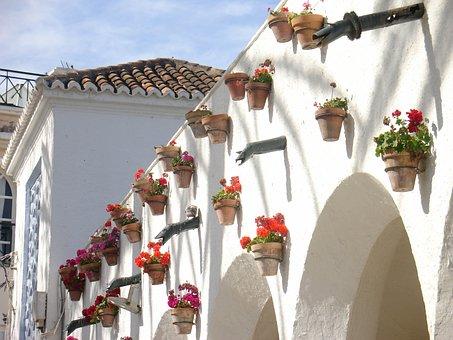 Nerja, Spain, Flowers, Pots, Arcade, Sun, Summer