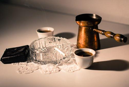 Coffee, Cigarette, Steam, Smoke Break, Ashtray