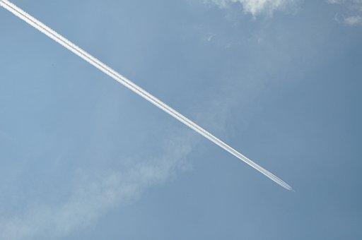 Clouds, Sky, Summer, Background, Aircraft, Blue
