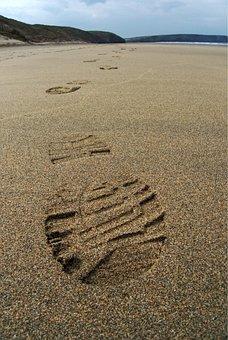 Footprint, Sand, Track, Print, Foot, Boot, Beach