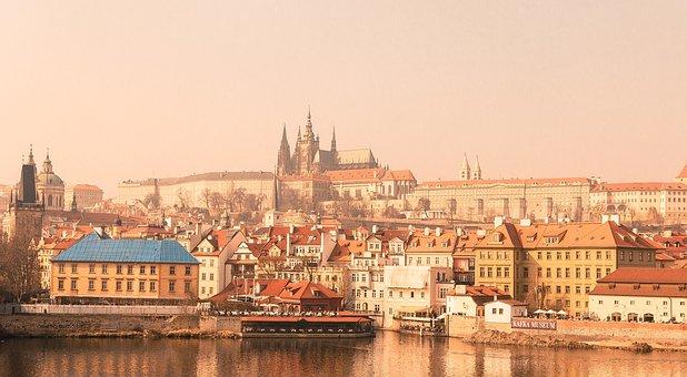 City, Water, Clouds, Buildings, Bridge, Vintage, Foggy
