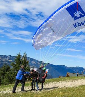 Paragliding, Longing, Flying, Partner, Cohesion, Sport
