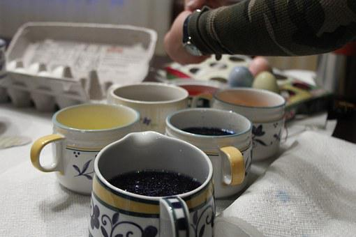 Egg Dying, Easter, Art, Colors, Paint