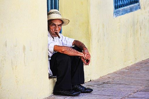 Cuba, Smoking, Man, Cigar, Face, House Entrance