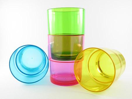 Purple, Blue, Green, Drinking, Cups, Water, Drink, Dyed