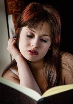 Writing, Diary, Female, Sitting, Caucasian, Person