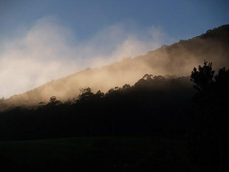Mountain, Fog, Morning, Early, Sunrise, Rising, Light