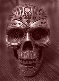 Skull, Decoration, Halloween, Spooky, Grungy, Fear