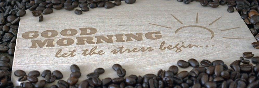 Good Morning, Start Of Day, Coffee Beans, Wood Panel