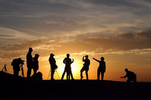 In Xinjiang, Ghost City, Silhouette, People, Sunset