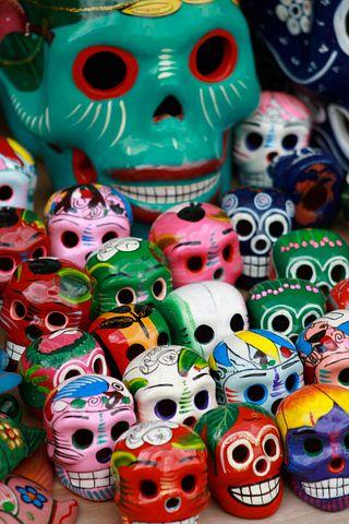 Skulls, Souvenirs, Mexico, Culture, Travel, Scary