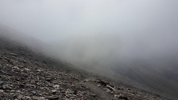 Fog, Cloud, Mountain, Trail, Rocks, Bare, Desolation