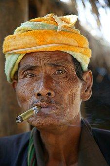 Burma, Man, Cigar, Turban, Myanmar, Look