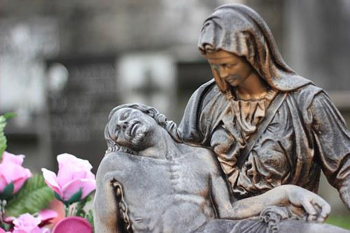 Italy, Cemetery, Statue, Jesus Christ, On Hands, Dying