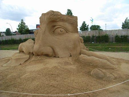 Sculpture, Sand, Sand Sculpture, Face, Berlin, Artwork