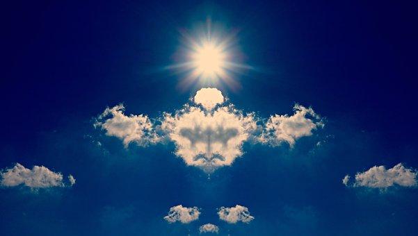 Cloud, Sun, Sky, Rorschach, Shape, Fantasy, Imagination