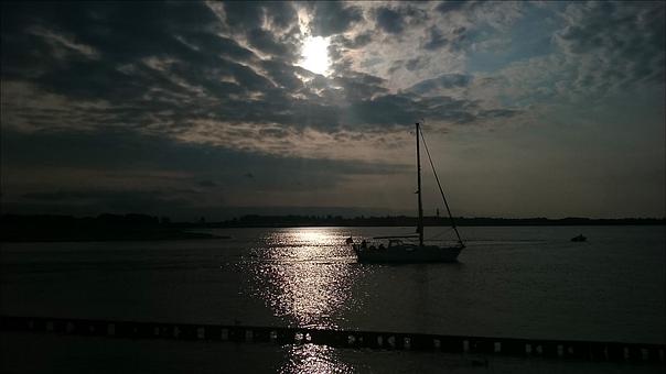Lake, Ship, Sun, Water, Filter