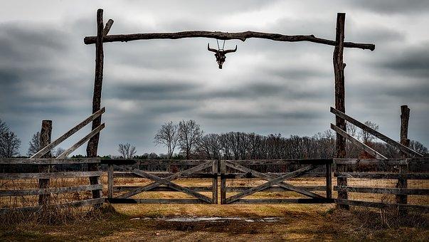 Texas, Ranch, Entrance, Fence, Cow Skull, Hdr, Sky