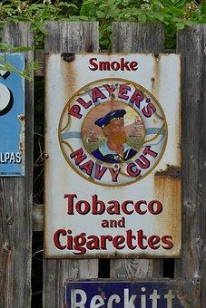 Tobacco, Sign, Metal, Vintage, Smoke, Cigarette