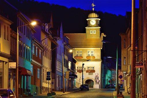 Town Hall, Blue Hour, Südharz, Bleicherode