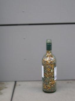Wine Bottle, Cigarettes, Addiction, Drugs, Dependency
